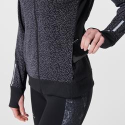 Hardloophoodie met rits voor dames Run Warm Night zwart