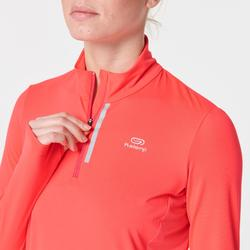 MAILLOT MANCHES LONGUES JOGGING FEMME RUN DRY+ ZIP ROSE