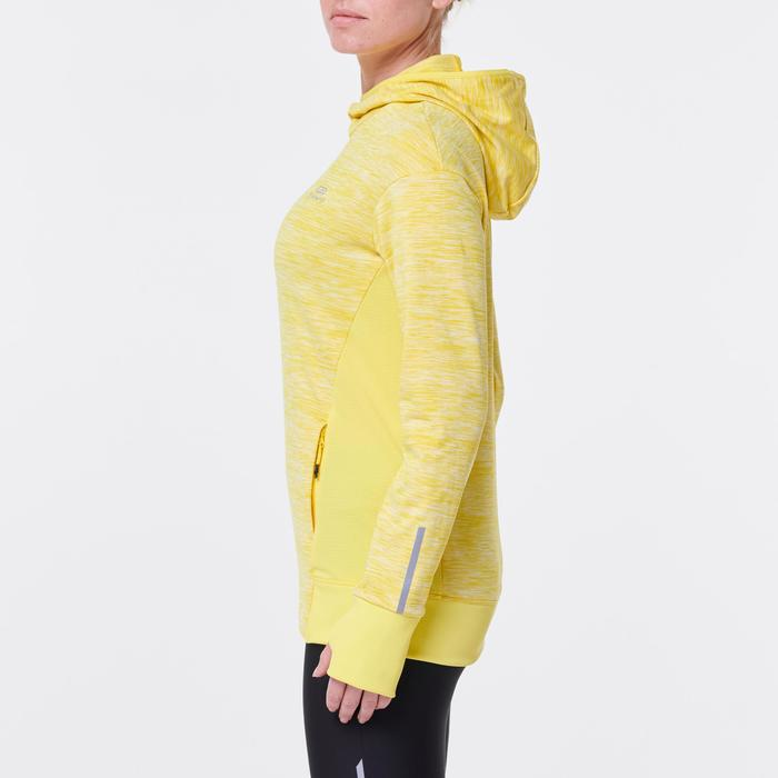 SWEAT CAPUCHE RUN WARM FEMME JAUNE