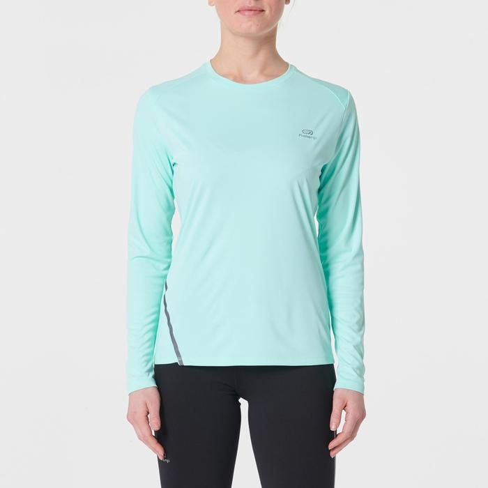 MAILLOT MANCHES LONGUES JOGGING FEMME RUN SUN PROTECT VERT CLAIR