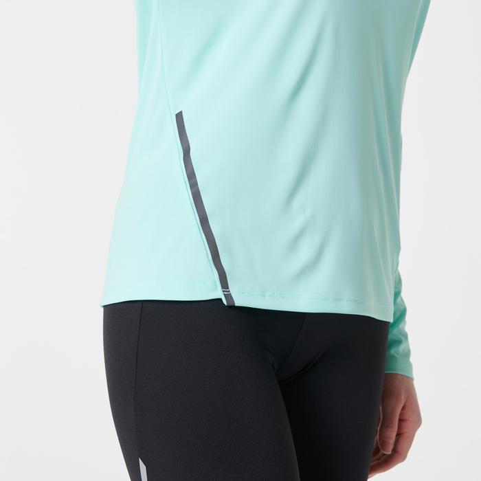Camiseta Manga Larga Running Kalenji Mujer Verde Claro Sun Proctect