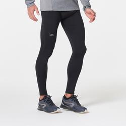 男款跑步緊身褲RUN WARM黑色