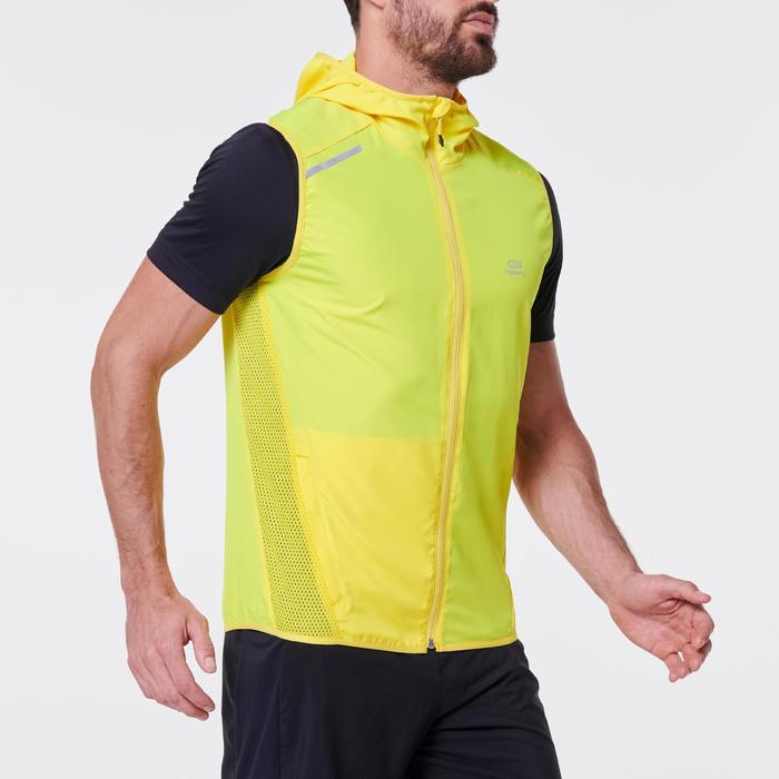 Mouwloos windjack voor hardlopen heren Run Wind geel