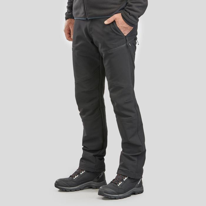 Men's warm hiking trousers SH500 x-warm stretch - black