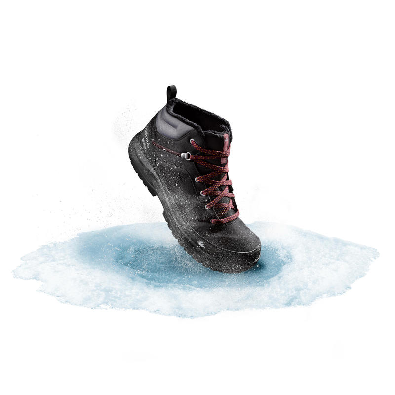 รองเท้าหุ้มข้อผู้ชายสำหรับเดินท่ามกลางหิมะที่มีคุณสมบัติกันหนาวและกันน้ำรุ่น SH100 WARM (สีดำ)