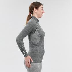 Thermoshirt voor skiën voor dames met halve rits 900 X-Warm grijs