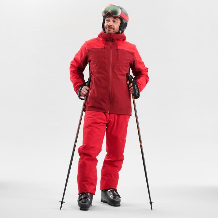 Ski-jas voor pisteskiën heren 500 bordeaux