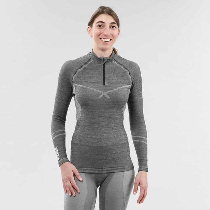Camiseta Térmica Esquí y Nieve interior Wed'ze 900 XWarm cremallera Mujer Gris