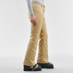 WOMEN'S DOWNHILL SKI PANTS 100 - BEIGE