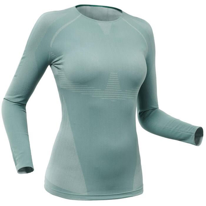 Camiseta térmica Esquí y Nieve Interior Wed'ze 900 XBreath Mujer Azul Gris