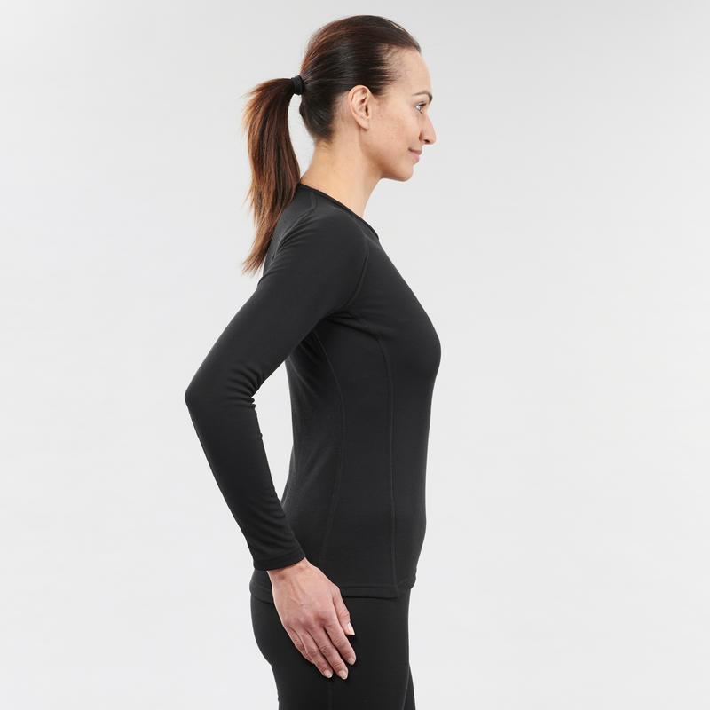 เสื้อตัวในผู้หญิงเพื่อการเล่นสกีรุ่น 100 (สีดำ)