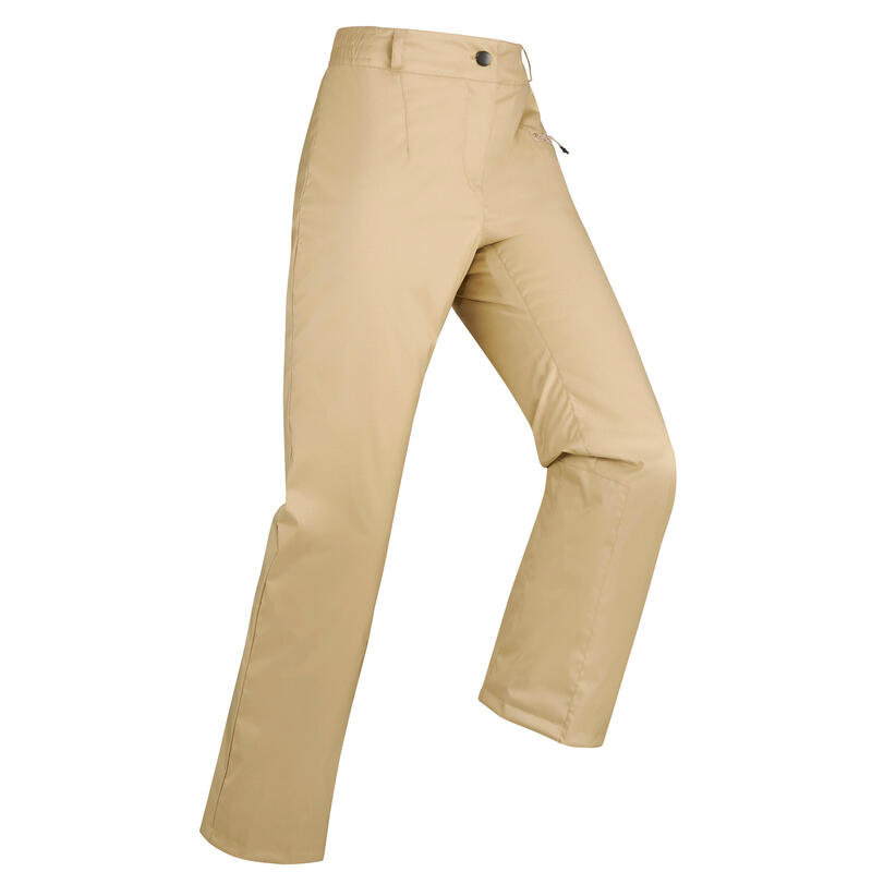 กางเกงขายาวเพื่อการเล่นสกีลงเขาสำหรับผู้หญิงรุ่น 100 (สีเบจ)