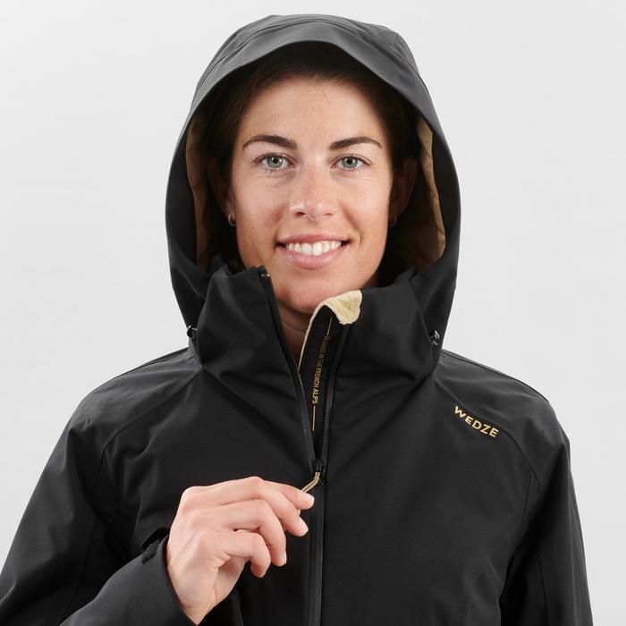 Skijacke Piste 500 Damen schwarz