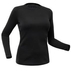 女款滑雪底層上衣100 - 黑色