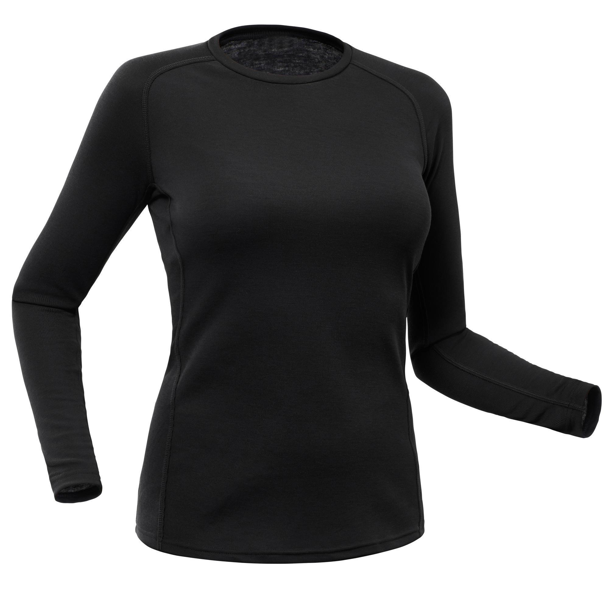 Wedze Thermoshirt Dames | Thermokleding dames | 100 | Zwart | Wedze