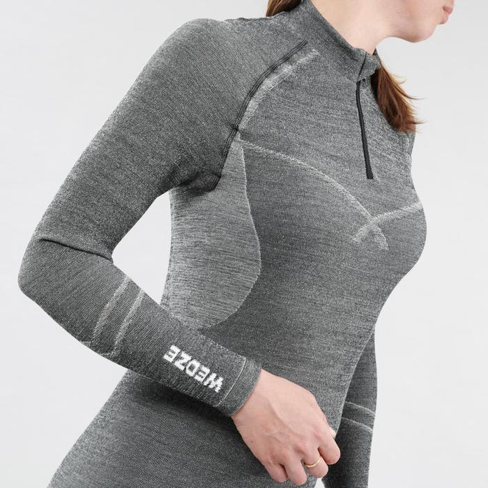 Sous-vêtement de Ski Femme Haut 900 X-Warm 1/2 Zip Gris