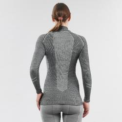 Sous-vêtement de ski femme 900 laine 1/2 zip haut gris