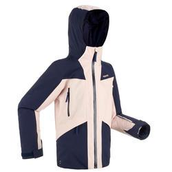 兒童滑雪外套900 - 軍藍色與粉紅色