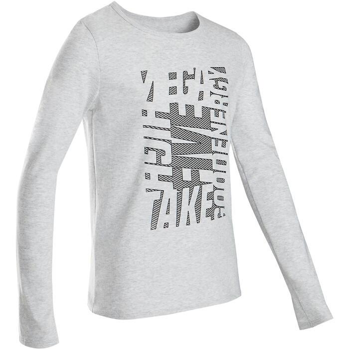 Gymshirt met lange mouwen voor jongens 100 grijs met print