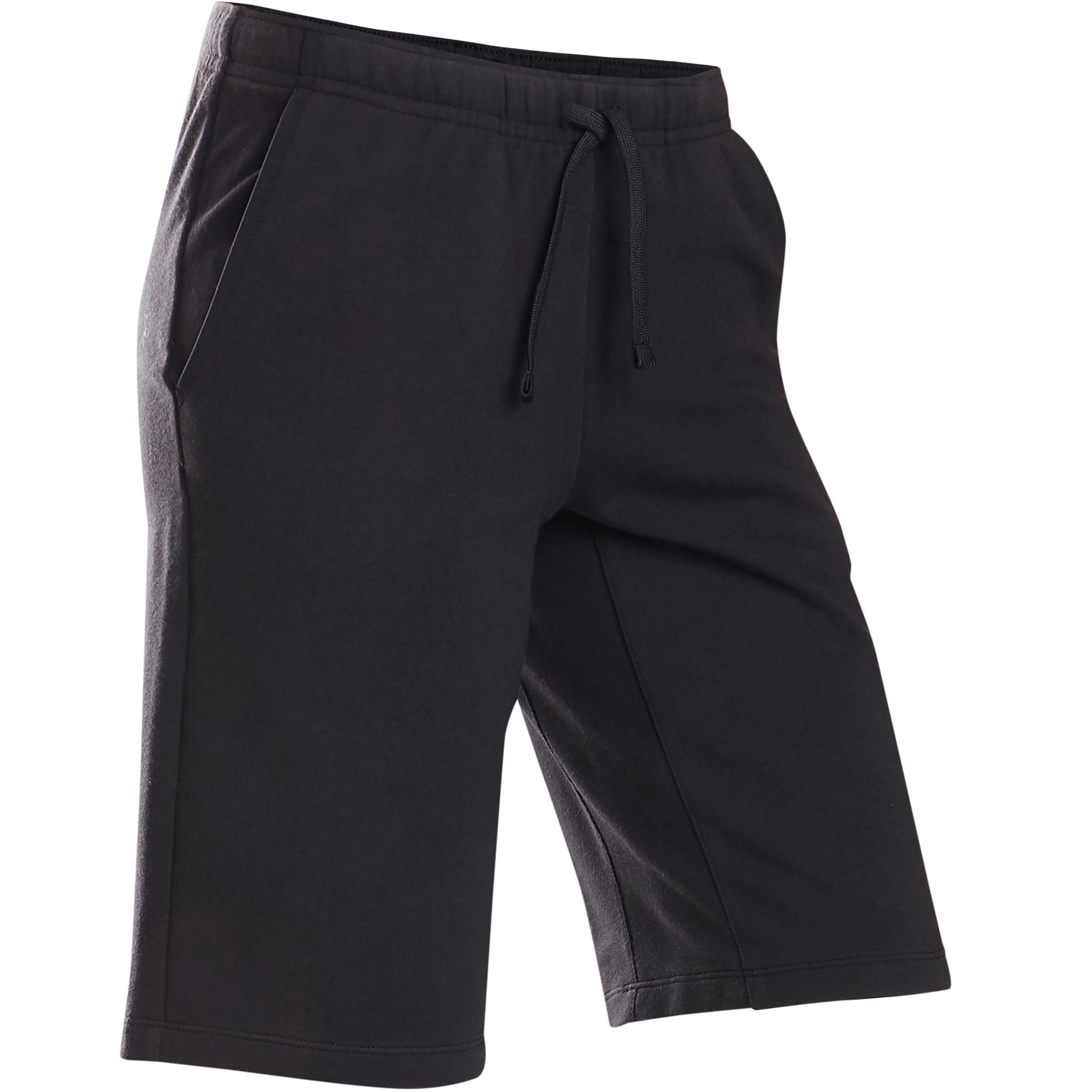 Short coton respirant 500 garçon gym enfant noir domyos