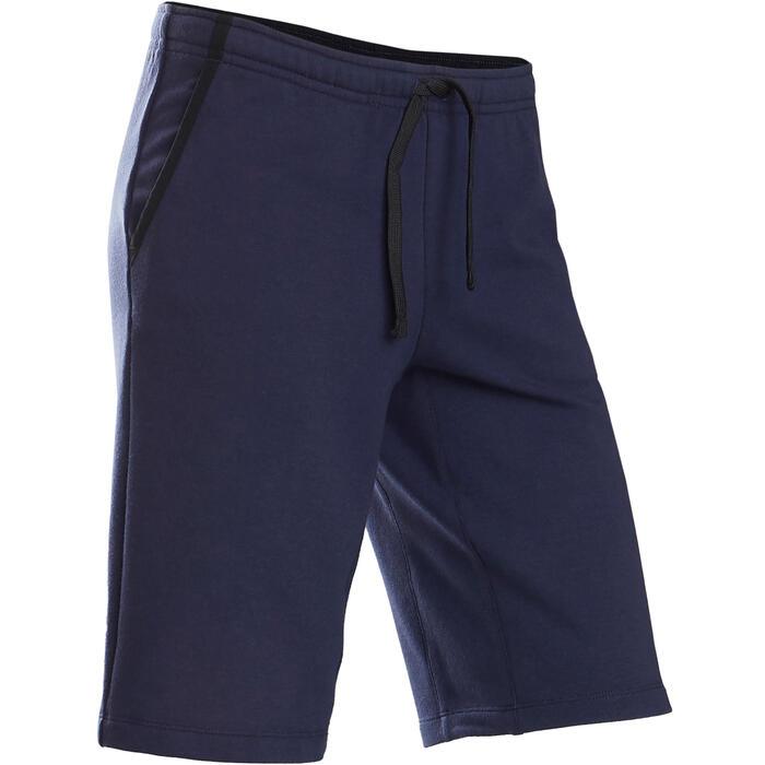 Ademende short voor gym jongens 500 katoen marineblauw