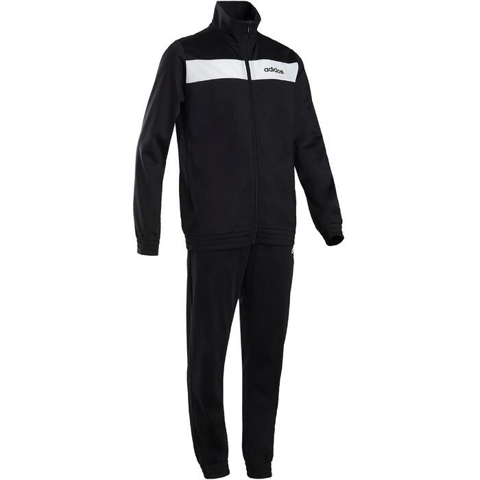 Trainingspak voor jongens van Adidas, zwart en wit met logo op de borst