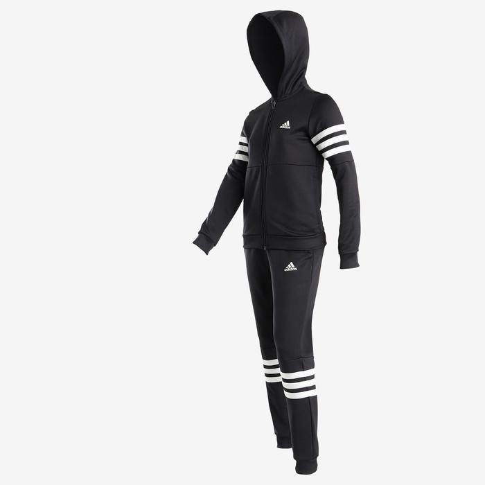 Trainingsanzug mit Kapuze Logo auf der Brust Kinder schwarz