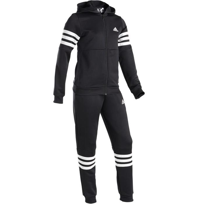 Trainingspak met kap voor meisjes, zwart met Adidas-logo op de borst