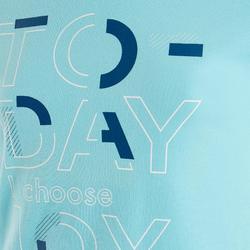 Gym T-shirt met korte mouwen voor meisjes 100 lichtblauw met print