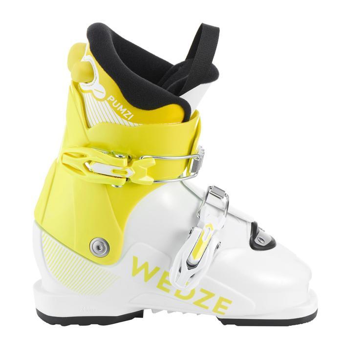 兒童雙板滑雪靴PUMZI 500黃色