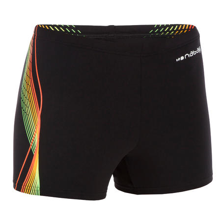 Boys' Swim Shorts Boxer 500 Fit - Black Cadro Orange Green