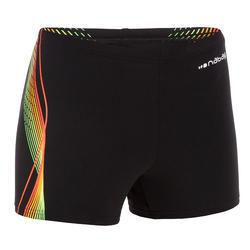 Zwemboxer voor jongens 500 Fit zwart Cadro oranje/groen
