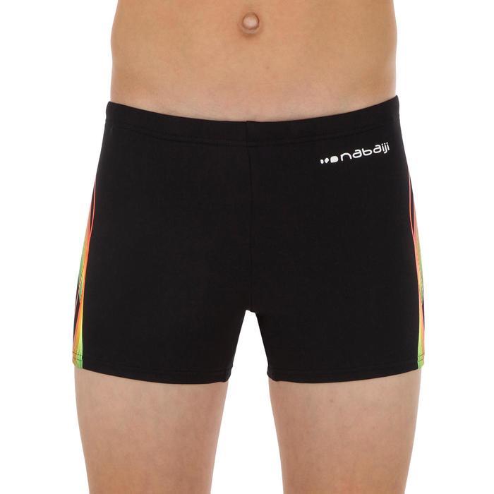 Zwemboxer voor jongens 500 Fit zwart cadro oranje groen