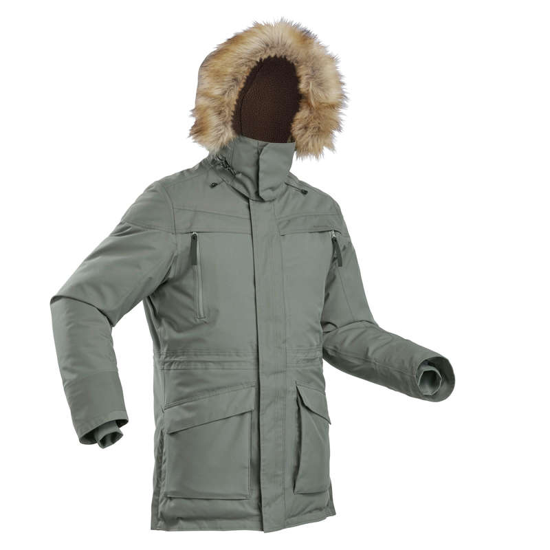 MEN COLD WEATHER SNOW HIKING WARM JACKET Hiking - SH500 Parka Men's Waterproof Jacket - Khaki QUECHUA - Hiking Clothes