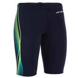 男童款及膝短褲500 FIRST藍綠色