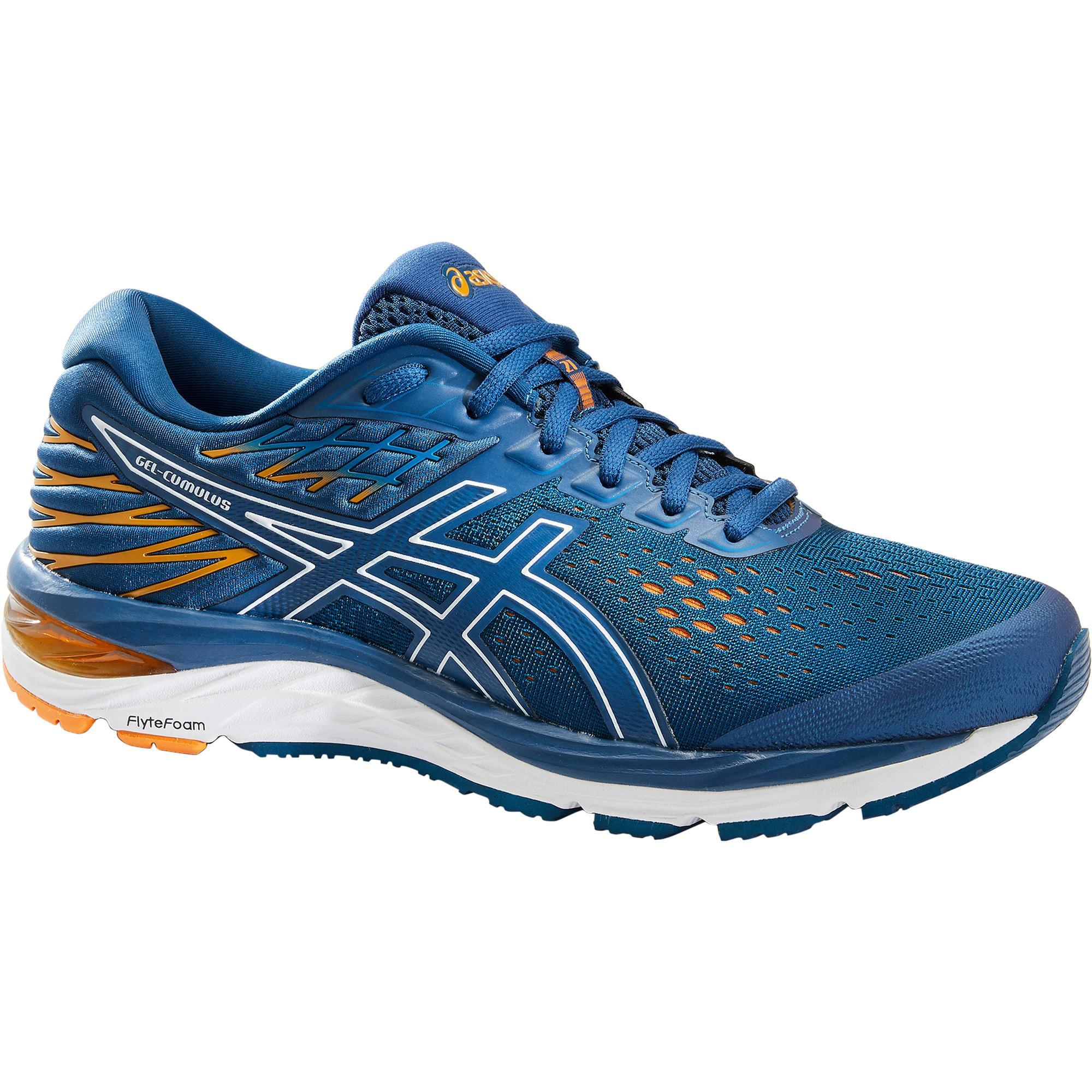 Asics Homme Gel-Cumulus 21 Chaussures De Course Baskets-Bleu Orange Sport Respirant