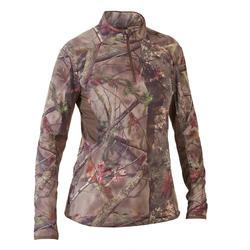 Geluidloos en ademend camouflageshirt voor de jacht dames 500 lange mouwen