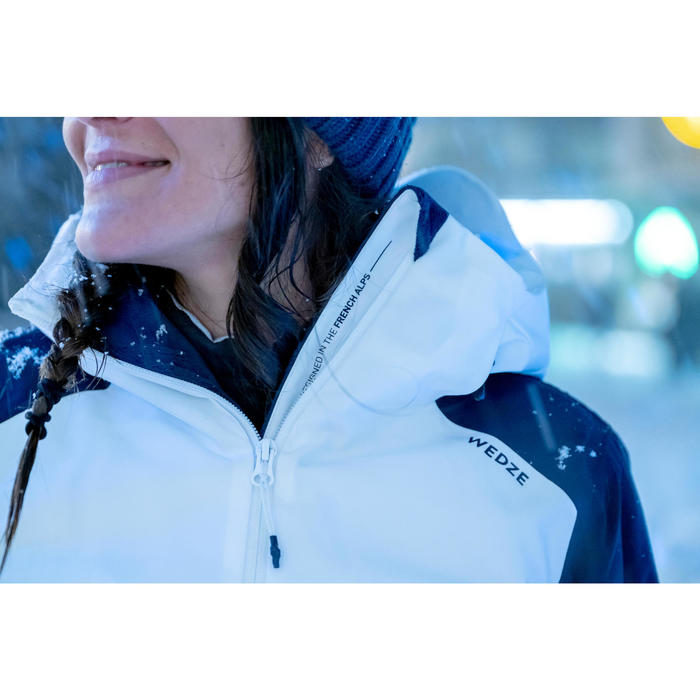 Skijacke Piste 500 Damen weiß