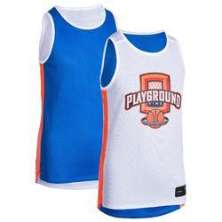 Omkeerbaar basketbalshirt halfgevorderde jongens/meisjes blauw wit PLAYG T500R