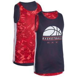 Omkeerbare tanktop voor basketbal jongens/meisjes BBL T500R roze/marineblauw