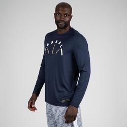 Basketbalshirt met lange mouwen marineblauw BSKBL