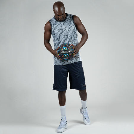 Men's Reversible Basketball Shorts - Mottled Blue/Grey