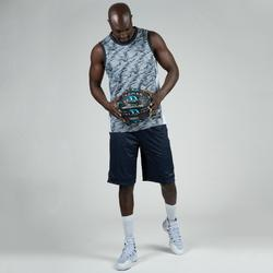 SHORT DE BASKETBALL REVERSIBLE HOMME BLEU CHINE/GRIS