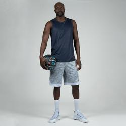 Basketball-Wendeshorts Herren Fortgeschrittene blau meliert/grau