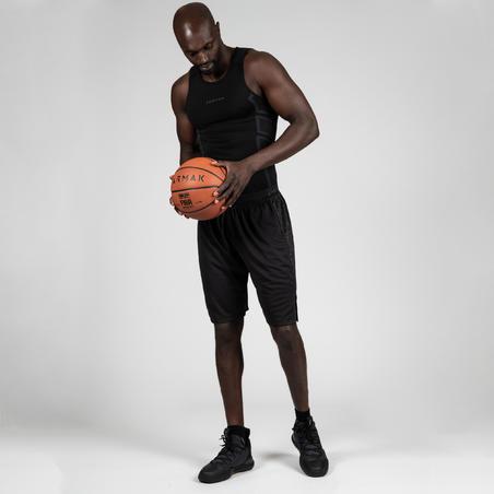 Men's Slim Fit Basketball Base Layer Jersey UT500 - Black