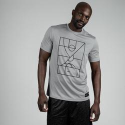 Basketbalshirt TS500 heren lichtgrijs Playground