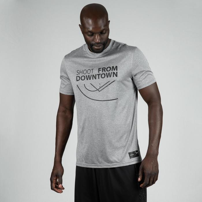 T-SHIRT / MAILLOT DE BASKETBALL HOMME TS500 GRIS SHOOT FROM DOWNTOWN