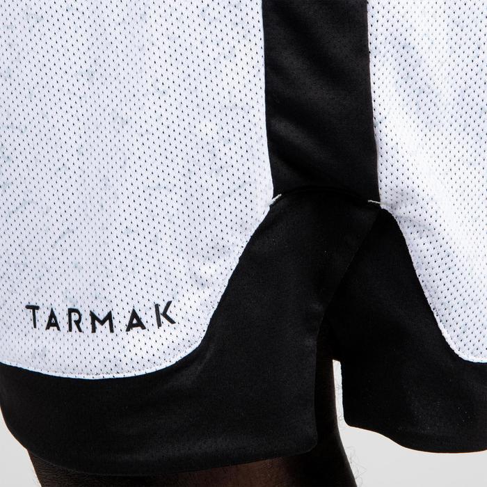 Keerbare basketbalshort voor heren gevorderde spelers wit/zwart