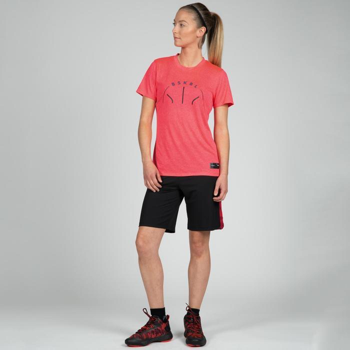 Camiseta Baloncesto Tarmak TS500 Mujer Manga Corta Rosa BSKBL