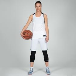 Basketballtrikot T500 Damen weiß/schwarz